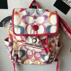 Coach backpack with additional coin purse